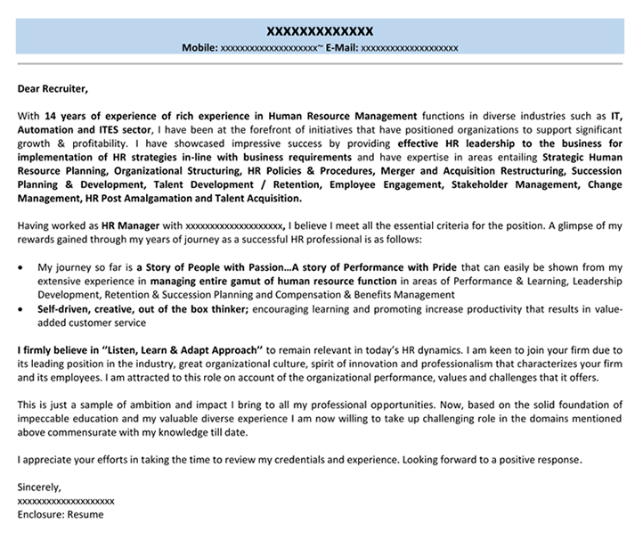 Cover Letter For Hr Cover Letter For Job Application Naukri Com