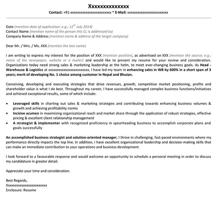 Cover Letter For Marketing Marketing Sample Cover Letter Naukri Com